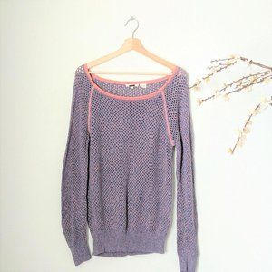 Miss Me Long Sleeve Top Open Knit Sweater Pink L
